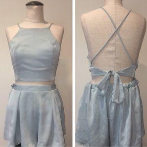 Blue Blush medium 2 piece halter and short set!